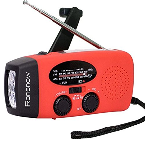 iRonsnow-Dynamo-Emergency-Solar-Hand-Crank-Self-Powered-AMFM-NOAA-Weather-Radio-LED-Flashlight-Smart-Phone-Charger-Power-Bank-with-Cables-Red