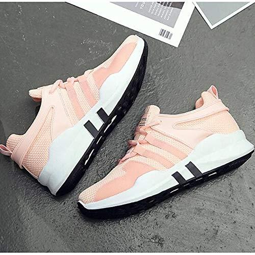 Comfort Mujer Rosa White de Negro Cerrado Punta de Zapatos Blanca Malla de Primavera de Flat Heel Sneakers ZHZNVX Verano E8Ugqw