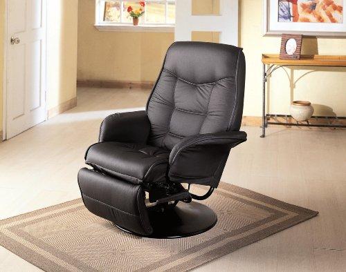Black Leatherette Cushion Swivel Recliner (Berri Swivel Recliner Black)