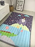 FenDie Portable Padded Baby Crawling Mat Carpet Non-slip Soft Animal Patterns Floor Activity Mats 55''x79''(140x200cm) Size For Kids Outdoor Picnic Mats -Style1