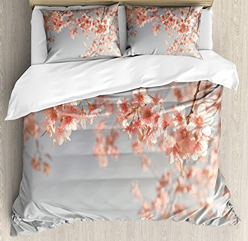 Peach 4 Pcs Bedding Set King Size, Japanese Scenery Sakura Tree Cherry Blossom Nature Photography Coming of Spring All Season Duvet Cover Bed Set, Bluegrey Coral