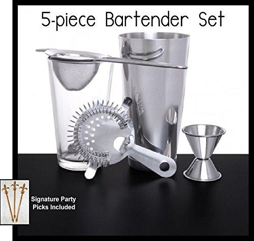 5-piece Bartender and Mixologist Set w/Signature Cocktail Picks