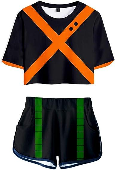 Xiao Maomi Hero Izuku Midoriya Deku Cosplay Costume for Women T Shirt Tee and Shorts Set for Halloween