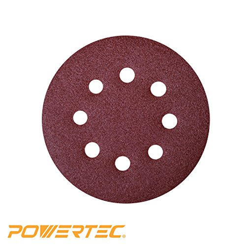 (POWERTEC 45004 A/O Hook and Loop 8 Hole Disc, 5-Inch, 40 Grit, 25 PK)