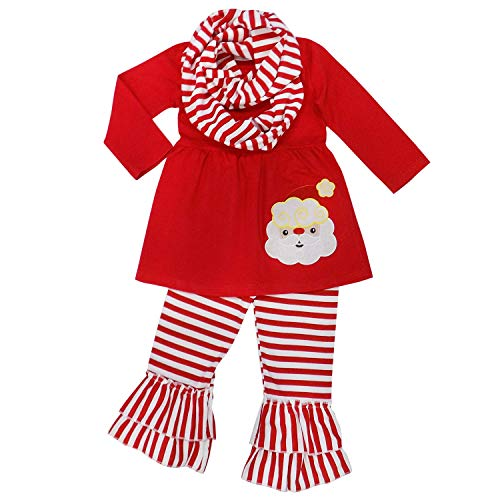 (So Sydney Toddler Girls 3 Pc Winter Christmas Holiday Ruffle Tunic Outfit, Scarf (S (3T), Santa Stripe Red))