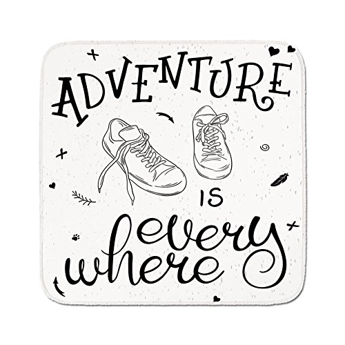 Cozy Seat Protector Pads Cushion Area Rug,Adventure,Motivational Design Youth Theme with Pair of Sneakers Walking Hiking Wanderlust,Black White,Easy to Use on Any ()