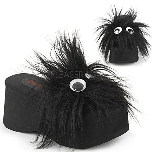 Demonia Womens Funn-31 Sandal Black Fur