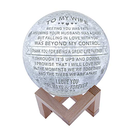 Engraved 3D Moon Lamp for Wife,Personalized 5.9 Inch 3D Printing Moon Light Gift for Wife Valentine's Christmas Gift (for Wife) (The Best Gift For Your Wife)
