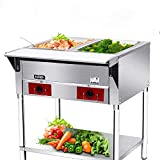 KITMA Commercial Electric Food Warmer – KITMA 2 Pot 120 V Stainless Steel Steam Table, Buffet Server for Catering and Restaurants