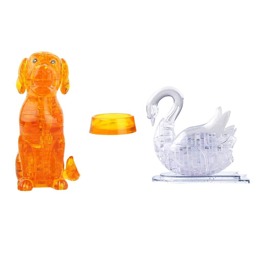 B Blesiya Figura de Cisne Rompecabezas de Perro 3D DIY Modelo de Asamblea Juguete para Niños
