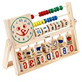 Sealive 1 pc Wooden Montessori Teaching Tool Math Number Versatile Flap Abacus Calculation Wooden Educational Toy offers