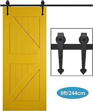XHKJ 244cm 8FT Herrajes Puertas Correderas Kit de Riel Puerta Corredera Granero Para Puerta Suspendida de Madera: Amazon.es: Bricolaje y herramientas