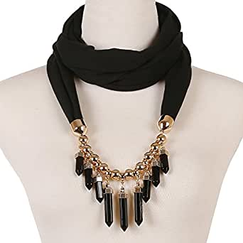 LERDU Women's Bullet Pendant Scarf Necklace Bar Fringe Infinity Jewelry Scarves Early Spring (Black)