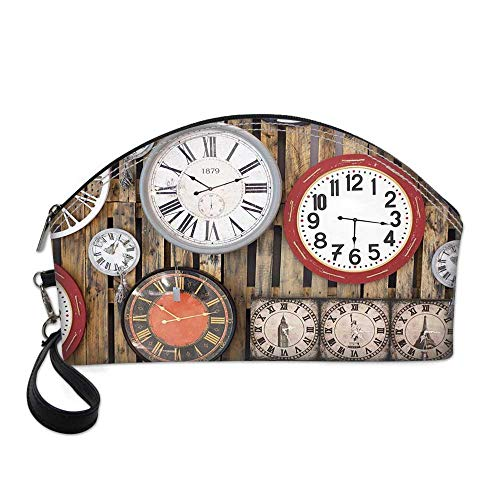 Clock Decor Small Portable Cosmetic Bag,Antique Clocks on the Wall Instruments of Time Vintage Decorative Pattern For Women,One size