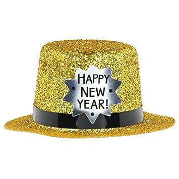 dfaed63e4 Amscan Happy New Year Glitter Plastic Mini Top Hat | Party Accessory
