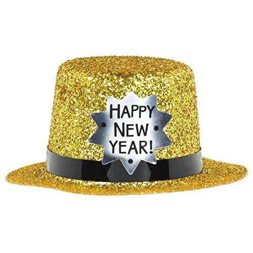 Hat Top Year Happy New (Amscan Happy New Year Glitter Plastic Mini Top Hat | Party Accessory)