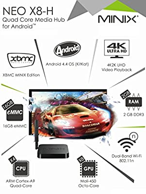 ChiTronic MINIX NEO A8-H Plus Android TV Box with NEO A2 Lite 2.4GHz Wireless Air Aouse + ARM Cortex-A9 Quad-Core CPU + Mali-450 Octo-Core GPU + 2GB DDR3 RAM + 16GB eMMC + Dual-Band Wi-Fi 802.11n + Support 4K Ultra HD Video Play Back + Androrid 4.4 OS + X
