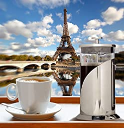 Cafe Du Chateau French Press, 4 Level Filtration System, 304 Grade Stainless Steel, Heat Resistant Borosilicate Glass (1000ml)