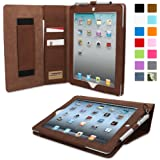 iPad 2 Case, Snugg™ - Executive Smart Cover With Card Slots & Lifetime Guarantee (Distressed Brown Leather) for Apple iPad 2