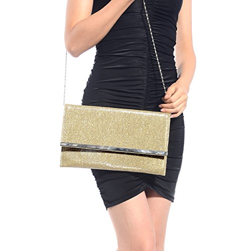 CLE DE TOUS-Bolso de Mano con Pupurina para Mujer Clutch Brillo para Boda Bolso de Fiesta Buen Regalo para Amiga Cartera de Mano Color Dorado