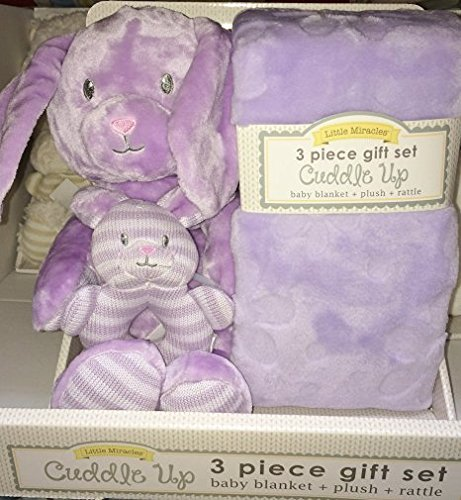 Little Miracles Cuddle Up Gift Set: Baby Blanket + Plush + Rattle (Lilac)