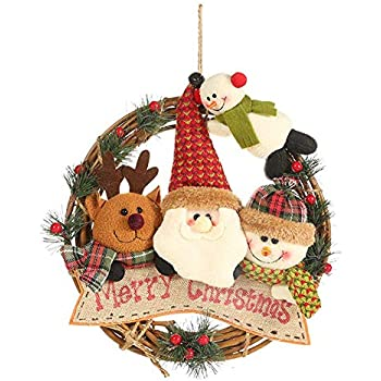 ZSGS Wreaths of Christmas Rattan Wreaths of Christmas Plush Doll Santa Claus Door Handles Christmas Ornaments Household Kitchen Wall Window Holiday Pendant