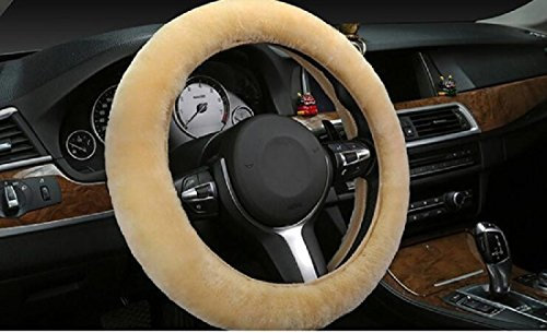 OKAYDA Faux Wool High-Elastic Steering Wheel Cover Fits Tight on Wheel Warm Hands in Winter, Absorb Hand Sweat in Summer, Lightweight Steering Wheel Covers ()