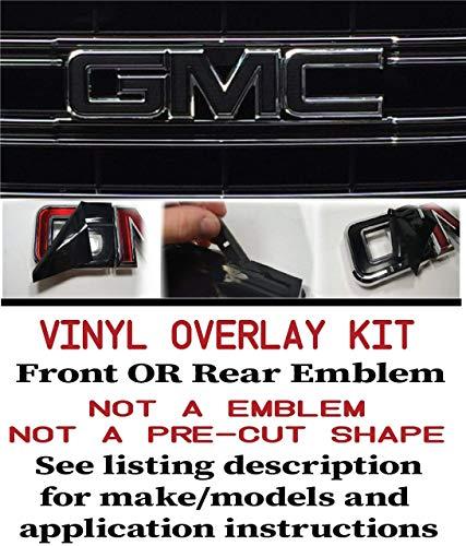 GMC FRONT or REAR Emblem Overla Kit Denali, Yukon, Sierra, Acadia, Terrain 651 Black Matte EXTRA SHEET || 6-BM-4 ()