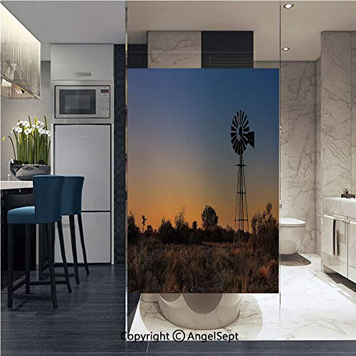 - AngelSept Non-Adhesive Privacy Window Film Sunset in Kalahari Peaceful Outdoors Agriculture Rural Nature Image Door Sticker Glass Film 22.8 in. by 35.4in. (58cm by 90cm),Blue Brown Marigold