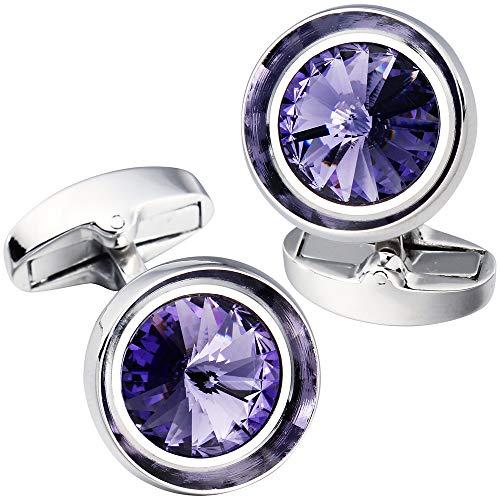 HAWSON Cufflinks for Men-Fashion Silver Color with Light Purple Swarovski Crystal Men French Shirt Cufflinks for Regular Weeding Business