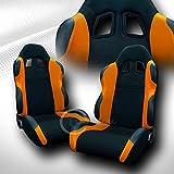 95 camaro racing seats - UNIVERSAL JDM-TS BLACK/ORANGE CLOTH CAR RACING BUCKET SEATS+SLIDERS PAIR FOR JAP