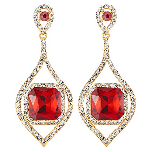 Wedding Party Red Princess cut Crystal Rhinestone Cluster Navette Large Dangle Statement Earrings