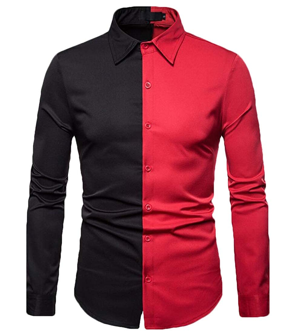 omniscient Mens Slim Fit Shirt Button Down Long Sleeve Color Block Shirt Casual Top