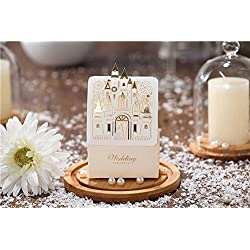 Saitec ® Hot Sale Pack of 50ps Romantic Castle Favors And Gifts Baby Shower Elegant White Luxury Decoration Laser Cut Party Wedding Paper Candy Box For Guest SIT1686