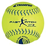 CHAMPRO Synthetic USSSA Fast Pitch Ball, Optic Yellow, 12-Inch (Pack of 12)