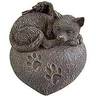 Cat Ashes Urn - Heart Shaped Sleeping Angel Cat Memorial Urn