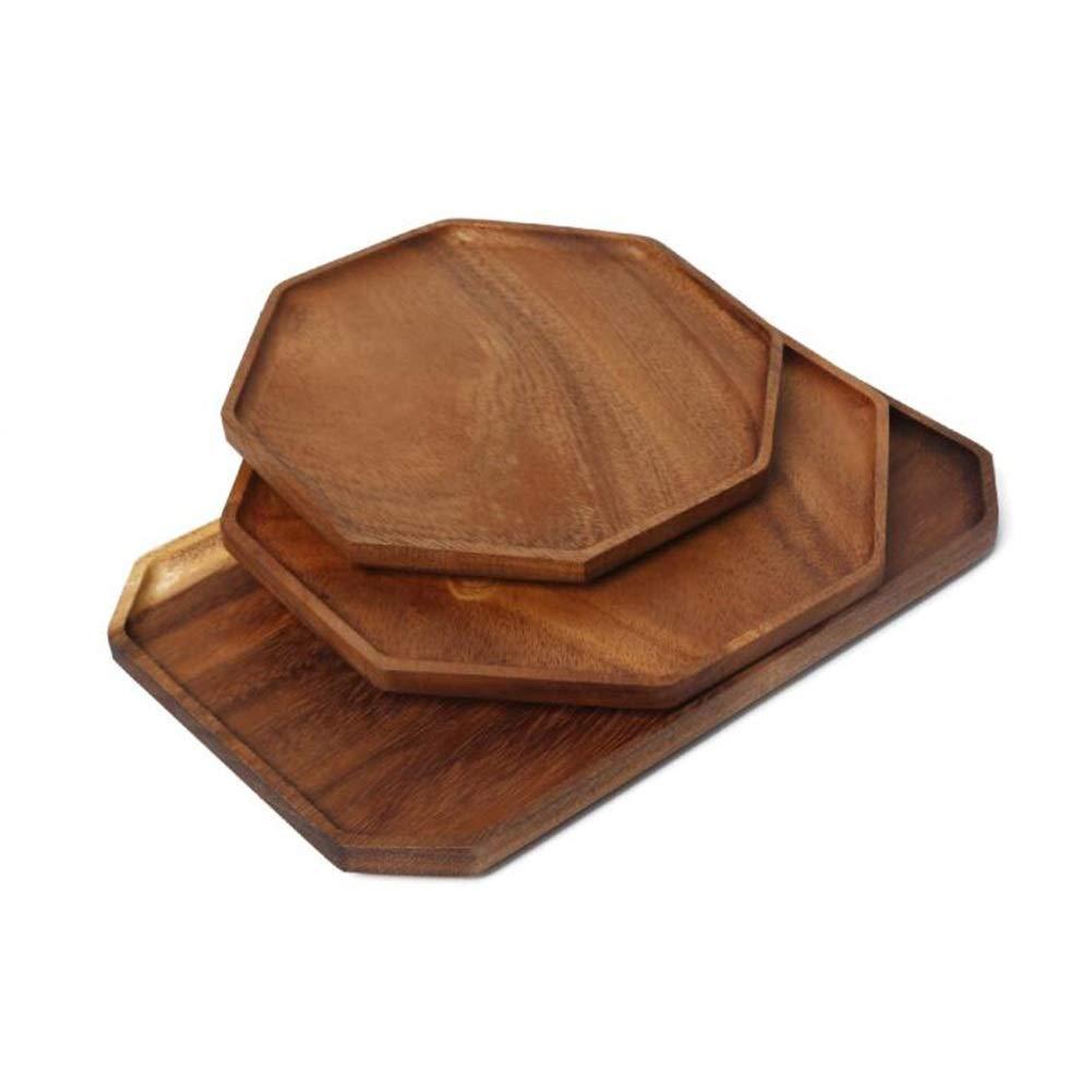 LSS 木製トレイセット3、パンコーヒー茶皿大皿手作りの装飾朝食タパスピザボード広葉樹ケーキデザートスナックドライトレイオクタゴン   B07NZPCQF1