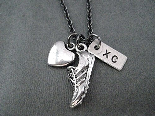 Love to Run XC Cross Country Necklace on 18 inch Gunmetal Chain - Pewter Heart, Pewter Running Shoe Charm and Hand Hammered, Hand Stamped Nickel Silver XC Charm