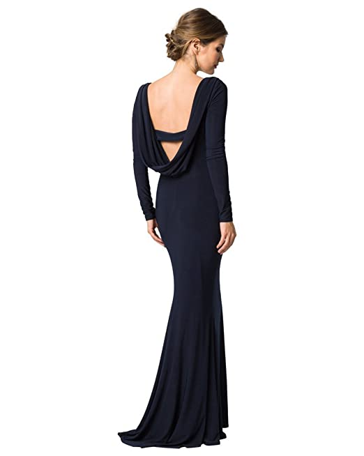 LE CHÂTEAU Women\'s Knit Solid Cowl Back Gown,XXS,Navy: Amazon.ca ...
