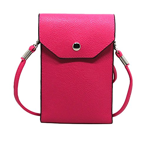 PU Leather 2 Layers Vertical Cellphone Pouch Bag with Shoulder Strap and Magnetic Button for Apple iPhone 7/iPhone 7 Plus Samsung Galaxy S7/S7 edge and Other Smartphone Hot Pink