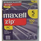 Maxell Zip Disk, 100MB, IBM Formatted, Pack Of 5
