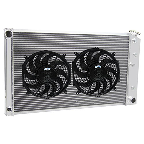 "Primecooling ""4 Row Core"" All Aluminum Radiator +Fan (12 Inches Dia.) Kits for 1970-78 Chevy ,GMC ,Buick ,Pontiac ,Oldsmobile Multiple Models ,MC161FAN"