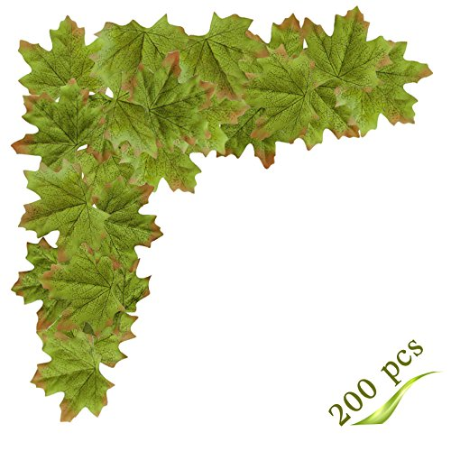 Silk Tree Branches - MerryNine Artificial Maple Leaves, Autumn Fall Leaves Bulk Assorted Multicolor Mixed Garland Wedding House Decorations (Maple Leaves-200pcs, Green)