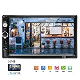 Camecho Double Din Car Stereo, Mirror Link 7″ HD Bluetooth Player Digital Monitor