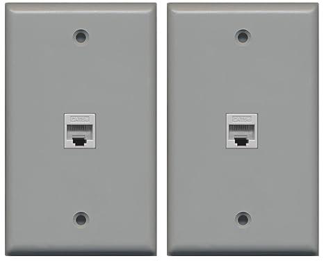 Admirable 2 Pack Riteav 1 Port Cat5E Rj45 Ethernet Wall Plate Gray Wiring 101 Orsalhahutechinfo
