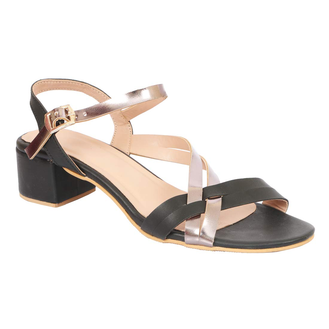 18558850205 LoferKama Thin Strips Black Box Heel Sandals for Women   Girls  Buy Online  at Low Prices in India - Amazon.in