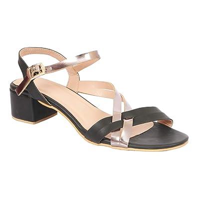 ff5e8931539 LoferKama Thin Strips Black Box Heel Sandals for Women & Girls: Buy ...
