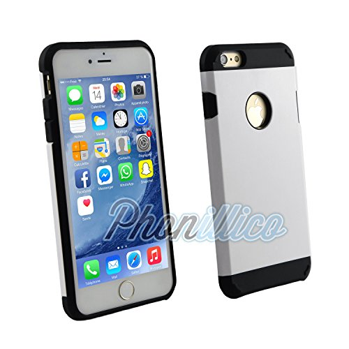 Phonillico® Coque Armor Blanc pour Apple iPhone 6 Plus / 6S Plus - Coque Housse Etui Case Protection Extreme Renforcée Armure Double Couche Anti Choc