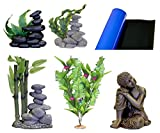 Blue Ribbon 5-Piece Aquarium Ornament Decoration Assortment, Asian, Zen, Buddha and Plants Theme