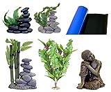 Blue Ribbon 5-Piece Aquarium Ornament Decoration Assortment, Asian, Zen, Buddha and Plants Theme